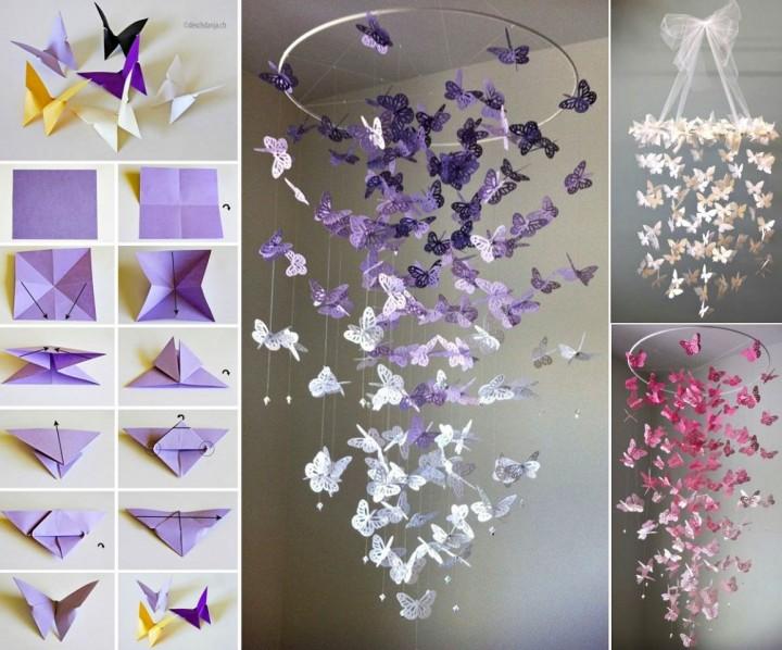 Подвесные бабочки из бумаги своими руками
